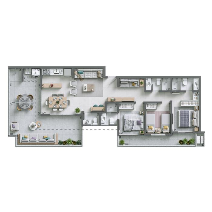 Apartamento Cobertura 121,07 m² - Nº 1303