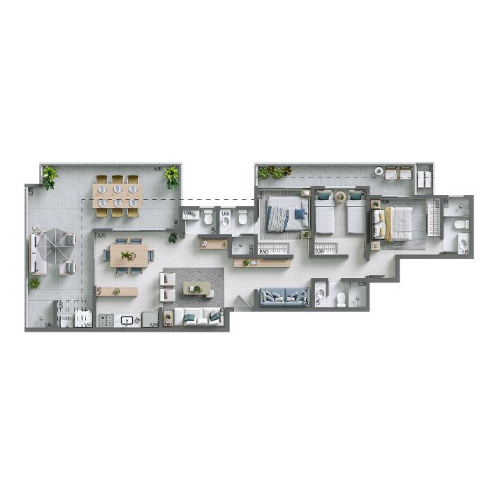 Apartamento Cobertura 121,27m² - Nº 1302
