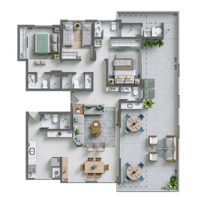 Apartamento Cobertura 155,47m² - nº 1301