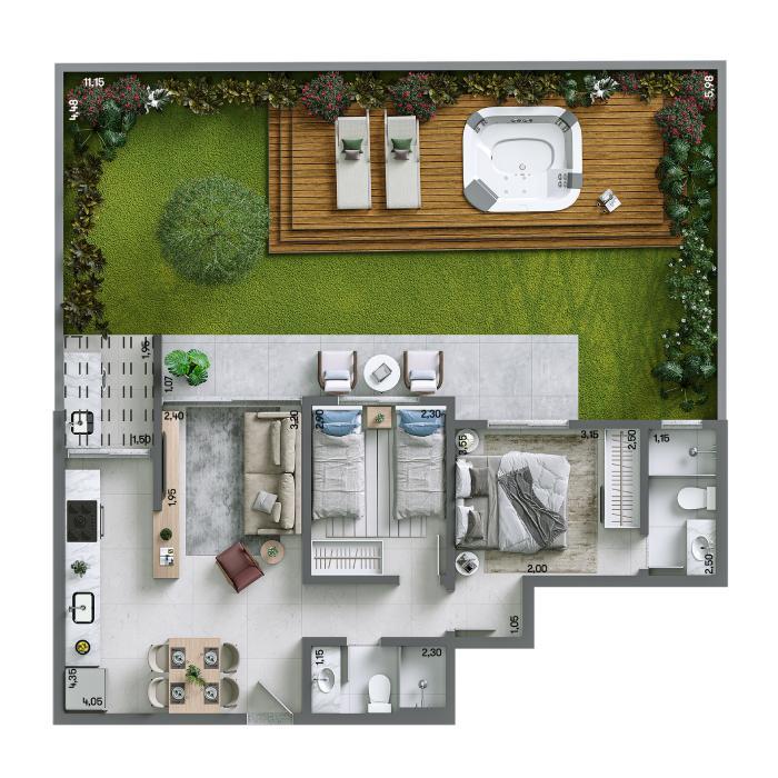 Apartamento Garden 119,16m² - Final 01