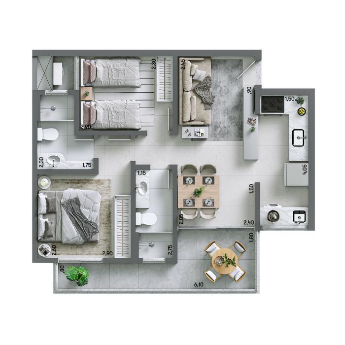Apartamento 58,28m² - Final 06