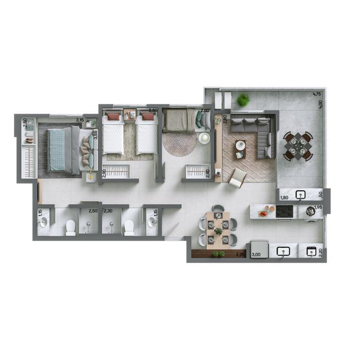 Apartamento 74,93m² - Final 02