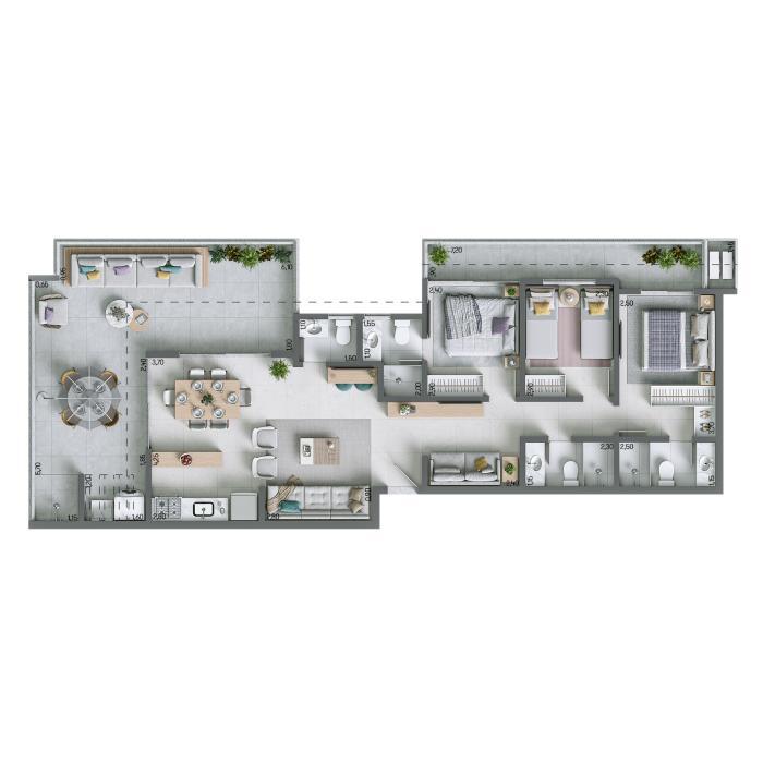 Apartamento na Cobertura 121,07m² - nº 1303