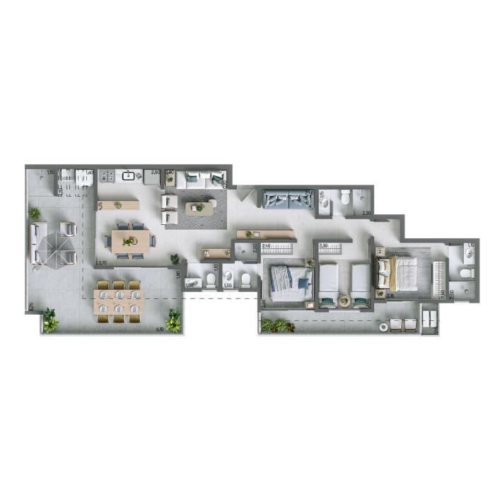 Apartamento na Cobertura 121,27m² - nº 1303
