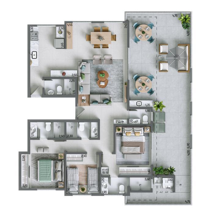 Apartamento na Cobertura 155,47m² - nº 1301